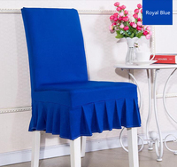 Royal Blue colour lycra chair cover with skirt all around the chair half style spandex chair cover wedding party home decoration