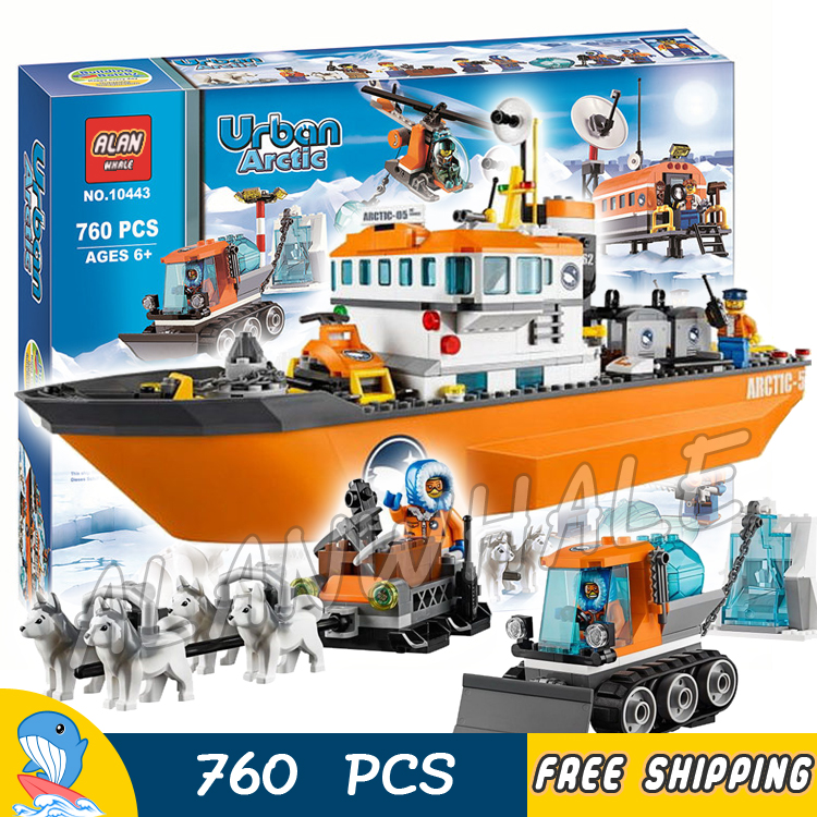 760pcs City Arctic Ice Breaker Scientific Research Ship Snow 10443 Model Building Blocks Figure Toys Bricks Compatible with Lego penguin trap interactive ice breaker party game