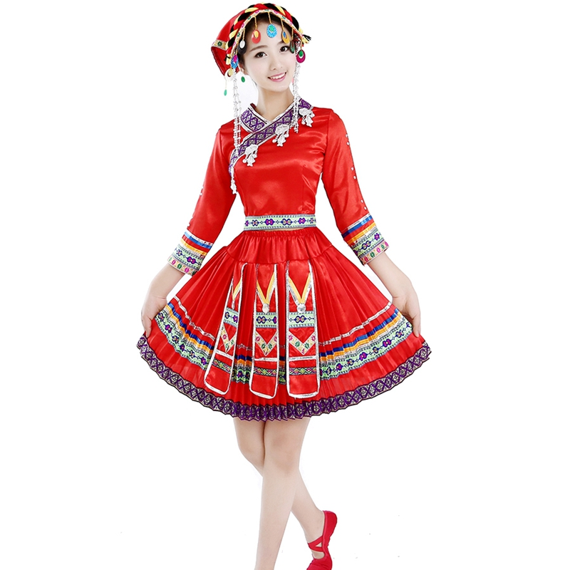 Miao clothing Hmong clothes Dance performance wear pleated skirt chinese  dance costume traditional chinese dress With Headress-in Chinese Folk Dance  from ...