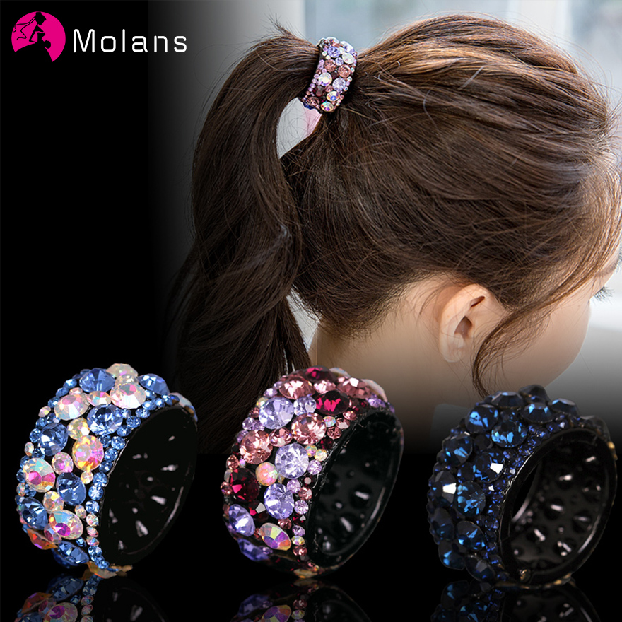 Molans Shiny Crystal Rhinestone Hair Claws Hair Accessories For Women Colorful Grab Clips Hairpins Hair Clips Ponytail For Girls