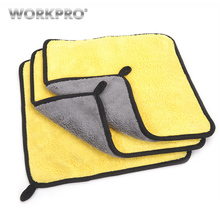 WORKPRO 3PC/Lot Double Side Towel for Car Wash Maintenance Microfiber Washing Drying  30cm*30cm