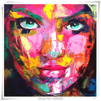 Palette knife painting portrait Francoise Nielly Hand painted Palette knife Face Oil painting Impasto figure on canvas Pop art 2