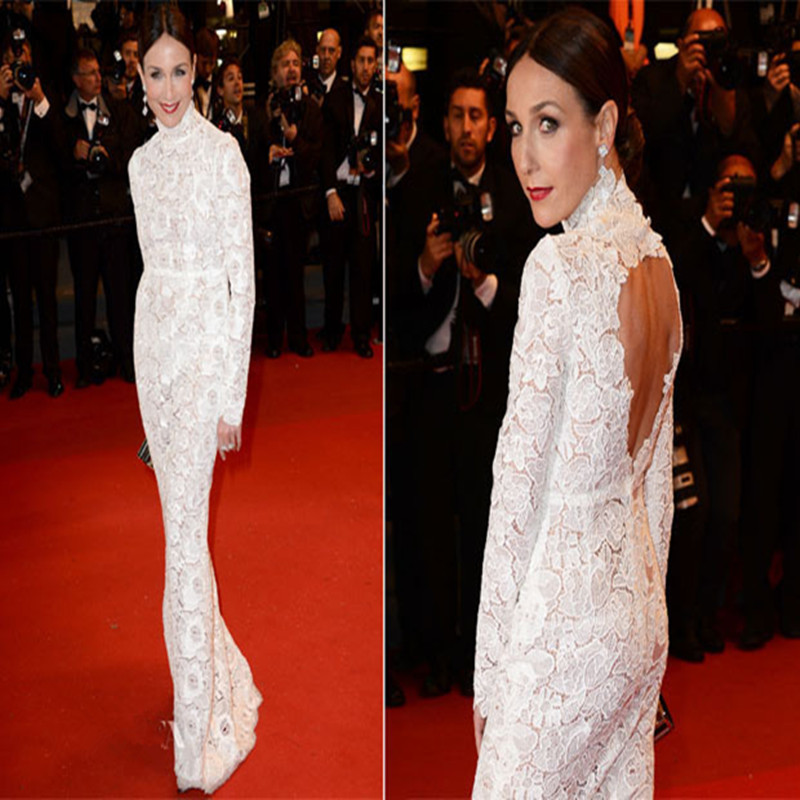 Sexy Backless Mermaid Prom Dress Long Sleeve Evening Dress 2017 New High Neck White Prom Dress Robe De Soiree Celebrity Dresses