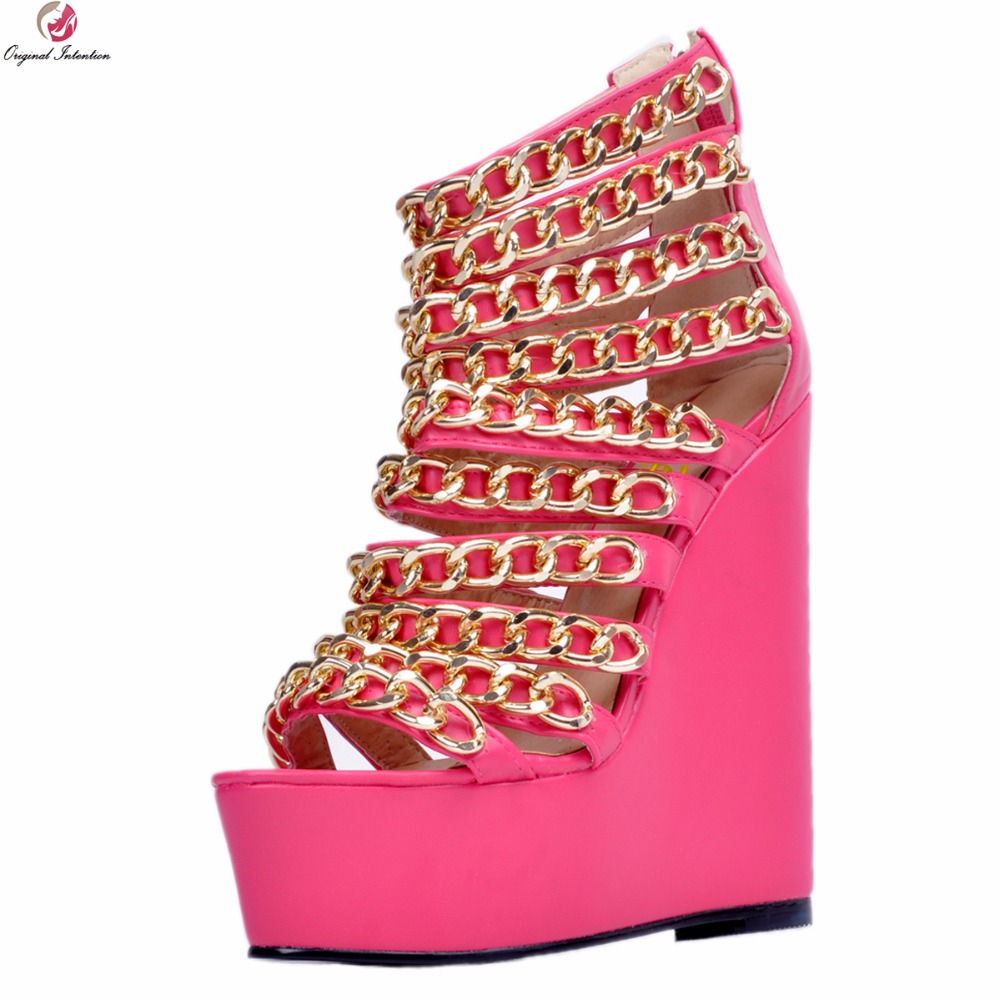 Original Intention Super Sexy Women Sandals Fashion Chains Open Toe Wedges Heels Elegant Rose Pink Shoes Woman Plus US Size 4-15 original intention 2018 super elegant women sandals nice open toe chunky heels sandals beautiful shoes woman plus us size 4 15