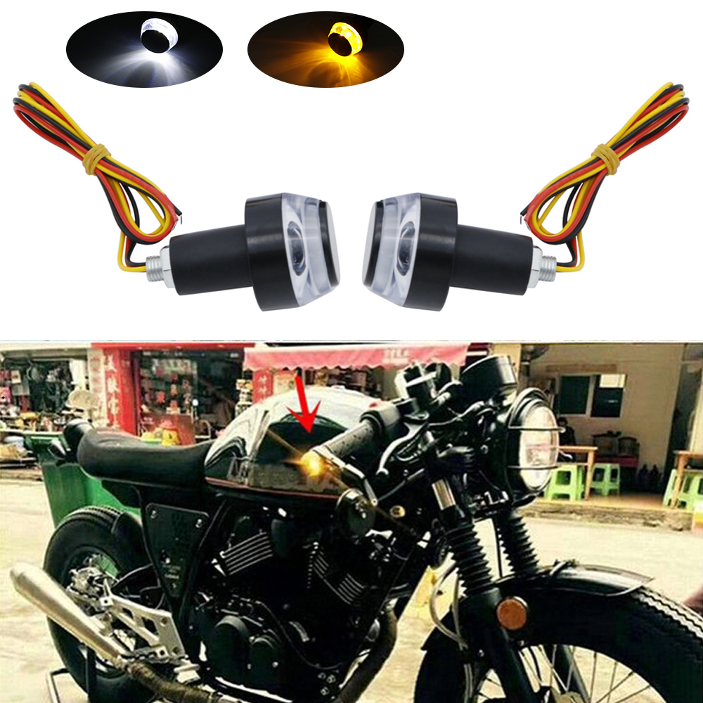 1 Pair Safety Cycling Bike Turn Signal Handle Bar End Plug LED Red Light Lamp