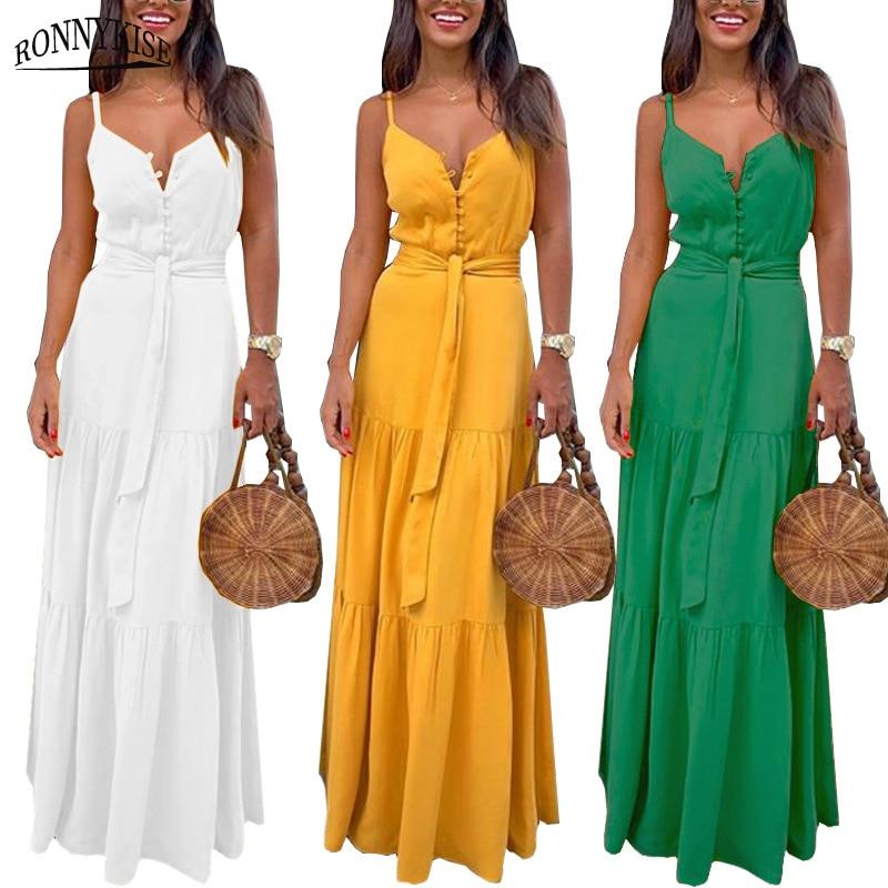 RONNYKISE Sleeveless Dresses Women Fashion Sexy V-neck Botton Stitching Spaghetti Strap Dress Summer Casual Party Long Dresses