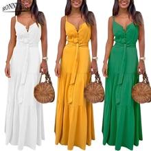 RONNYKISE Sleeveless Dresses Women Fashion Sexy V-neck Botton Stitching Spaghetti Strap Dress Summer Casual Party Long