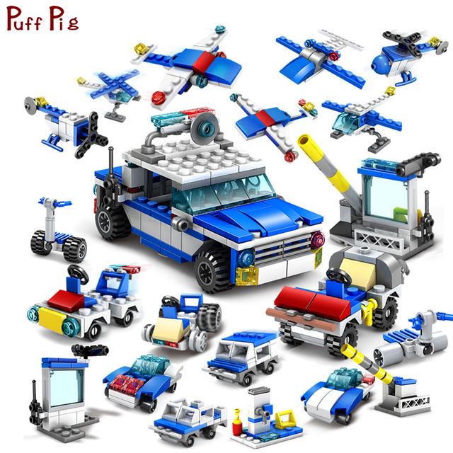 305pcs 16 In 1 City Construction Cop Trucks Cars Helicopter Building