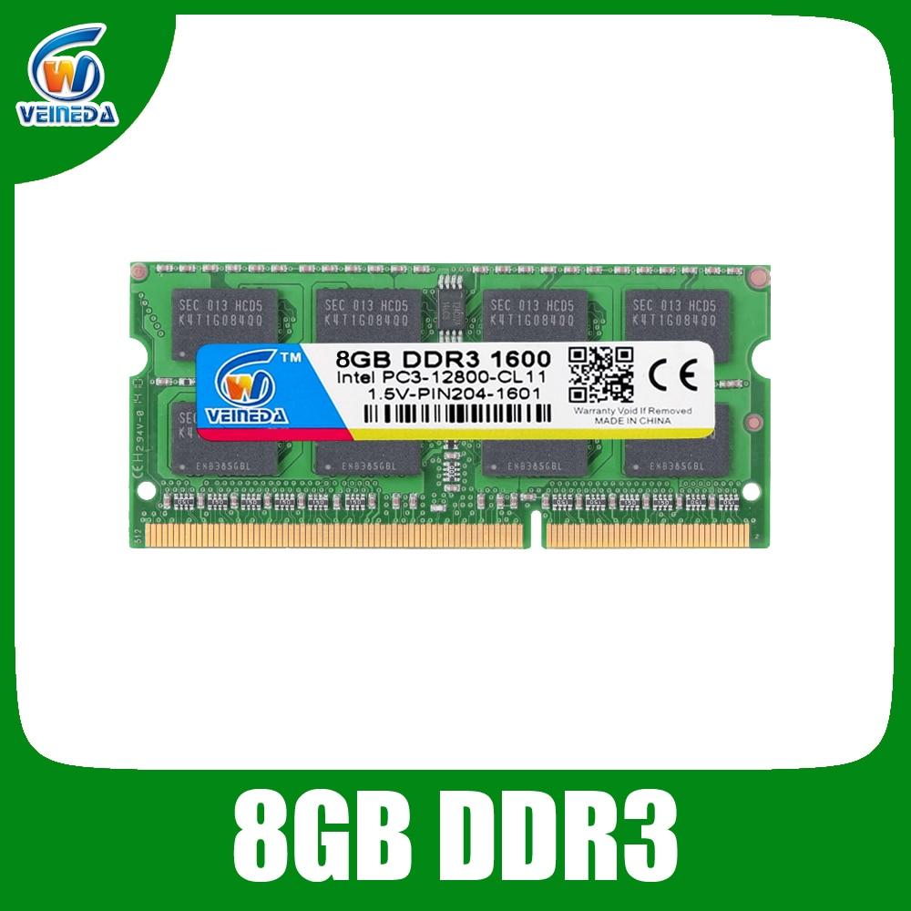 VEINEDA DDR3 8GB de Ram Sodimm ddr 3 4gb 1600 1333 Para Intel AMD laptop Memória Ram