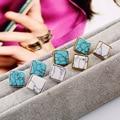 Moda étnica Brincos Branco Quadrado Azul Turquesa Do Vintage Brincos de Pedra Para As Mulheres Ocasional Das Senhoras Do Partido Jóias