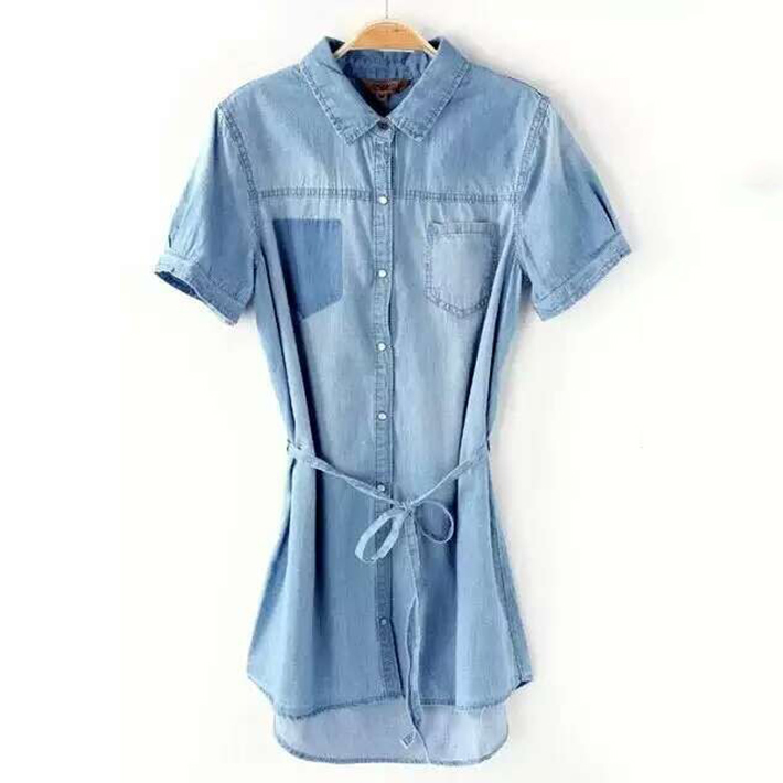 64761652f90 Women Summer Elegant Vintage Washed Denim Shirt Dress 2015 Girls Pockets  Bow Waist Short Sleeve Casual Vestidos Jeans Dresses-in Dresses from  Women s ...
