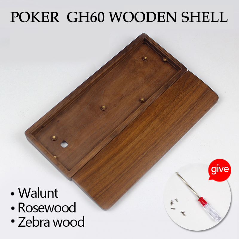 gh60 poker keyboard wood case  Black walnut Wood Scented RoseWood  GH60 case rosewood zebar wood бытовая техника