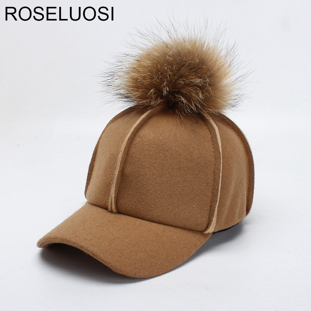 ROSELUOSI Women Autumn Winter Baseball Cap Real Raccoon Fur Pom poms Faux  Suede Leather Baseball Hat Female Gorras 867a9ae6a342