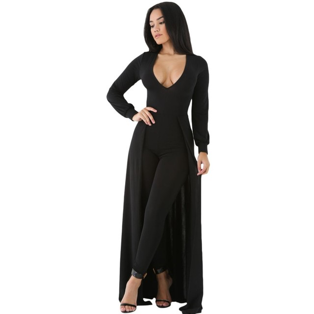 Maxi skirt overlay elegant women jumpsuit 2017 autumn winter black white sexy jumpsuits rompers long sleeve clothing set A64245
