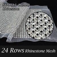 24 ряд со стразами серебряный коготь Белый Mesh база SS18 4 мм Кристалл Стразы отделка 5yards сетки для одежды