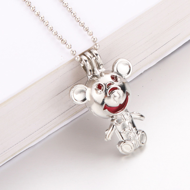 New Mickey Mouse harmPearl Cage Pendant Essential Aroma Perfume Locket For Necklace Jewelry Open lock Love Wish Jewelry