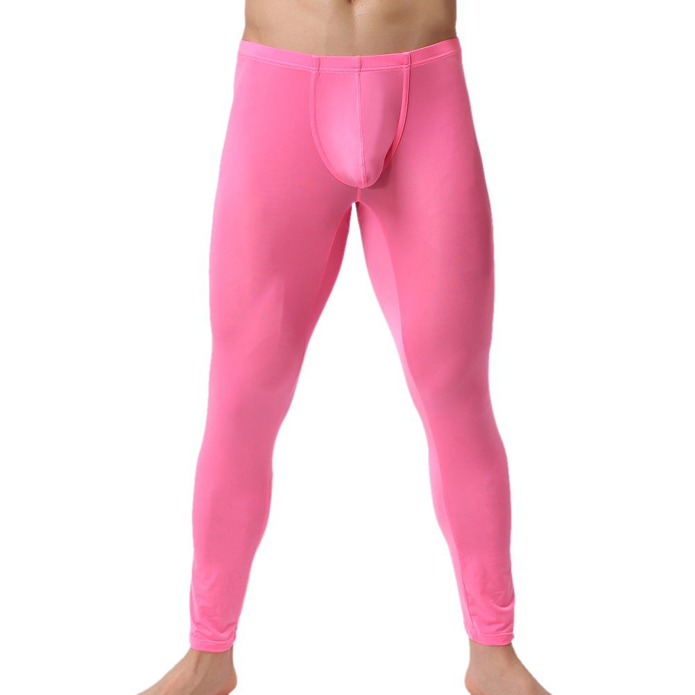 a5818b25a53 Winter Men Long Johns Ultra-thin Silky Sexy Mens Under Pants Bottoms Pajama  Low Rise Tight Legging Pouch Warm Long Johns