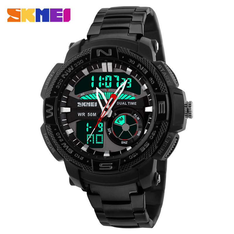 New Skmei Brand Men Watch Outdoor Sport Casual Wristwatch Waterproof Dual Time Alarm Analog Digital Display