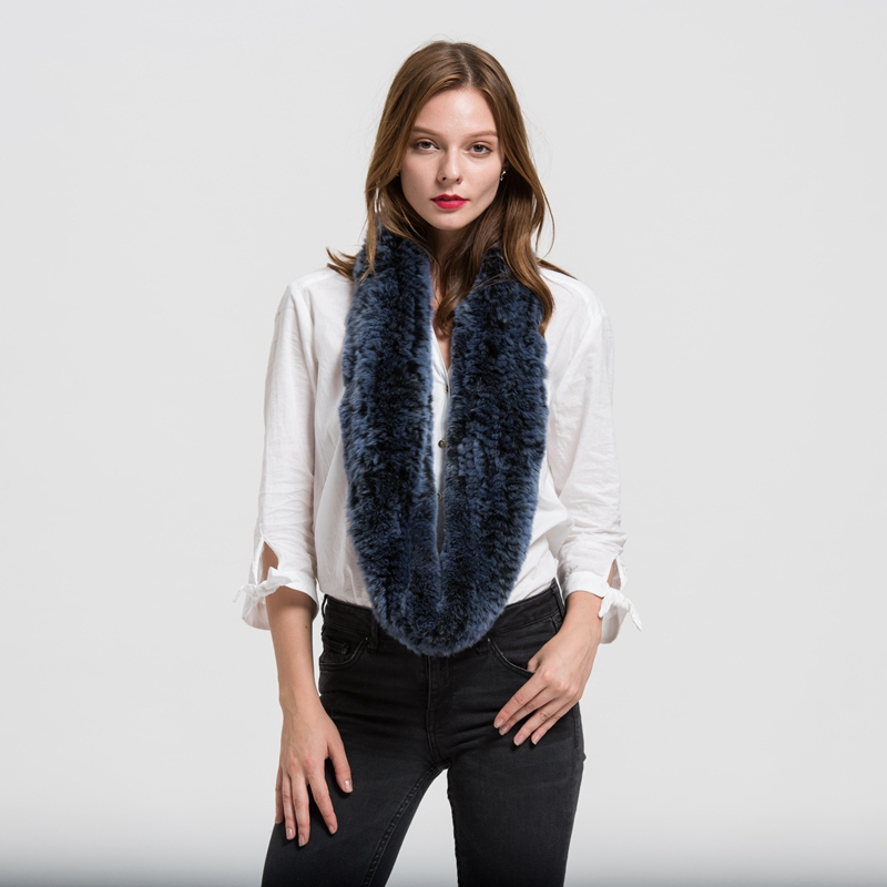 New 2019 Infinity Real Fur Scarf Rex Rabbit Thick Knitted Women Winter Warm Scarves High Quality Wholesale / Retail S1706