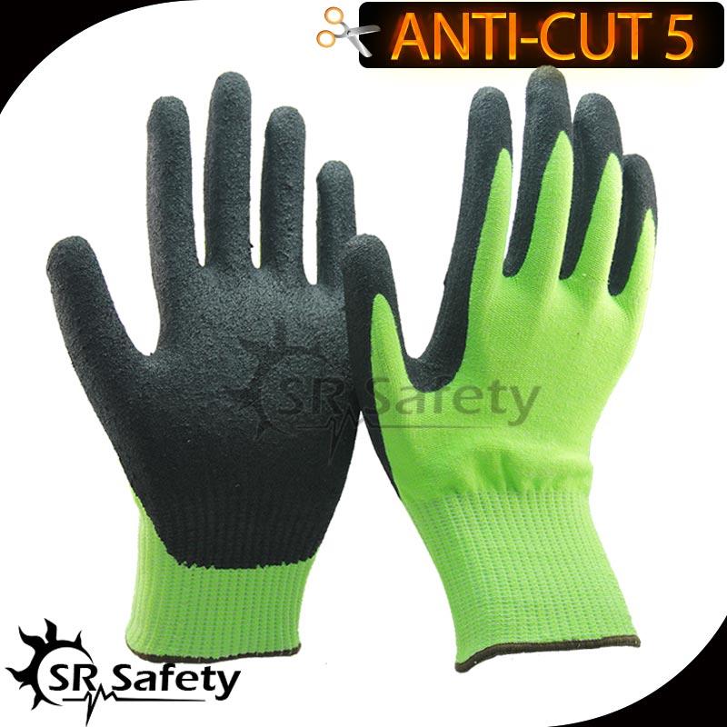SRSaugumas 12 porų CE standartinių CUT 5 lygio pjaustytų pirštinių, smėlio spalvos