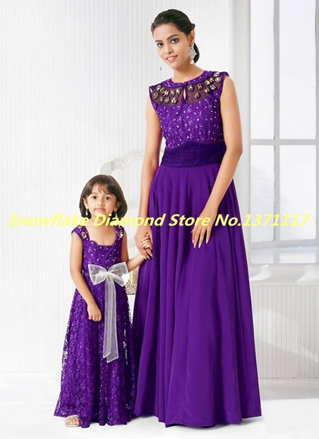 Indian Mother And Daughter Matching Prom Dresses 2015 Summer O Neck ...