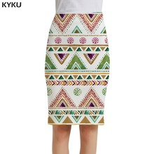 KYKU Graphics Skirts Women Painting Casual Geometry Sexy Flower Party White Office Ladies Skirts Womens Floral Cool Knee Length kyku brand bird skirts women animal floral rose party flower pencil butterfly casual sexy ladies skirts womens cool sundresses