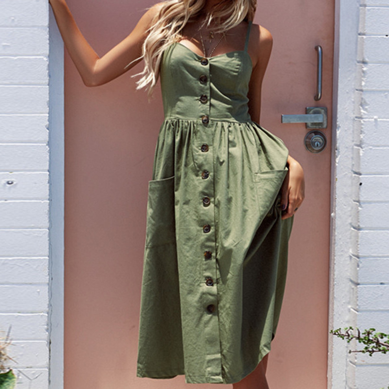 Mujeres vestido de verano sin mangas de impresión Floral playa Vestido Mujer Sexy Spaghetti Strap Boho vestido Backless femenino Vestidos