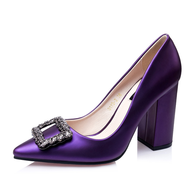 RUIDNEG office lady pumps high heel career pointed toe slip on fashion women shoes purple black green gray red square 9.5 cm OL new 2016 factory matte shoe women pointed toe red bottom low heel pump lady single ol work career spring fall shoes 678 2suede