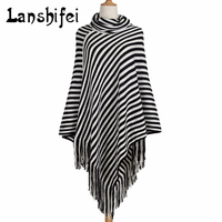 Autumn And Winter Thickened Shawl Poncho Super Large Warm Tassel Cashmere Knitted Striped Scarf Lady Warm