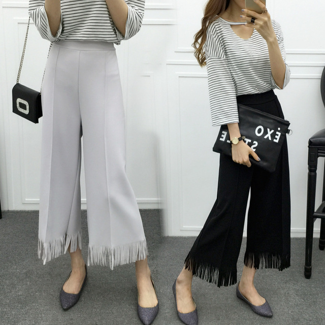 2016 summer Women new Korean style Macaron color tassel wide leg pants casual trousers female wild loose elastic waist S2336