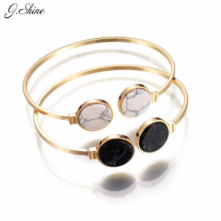 Online Shopping Indian Jewelry Round Black White Stone Open Cuff Bracelets Bangles Gold Color Adjustable Bracelet For Women bangle