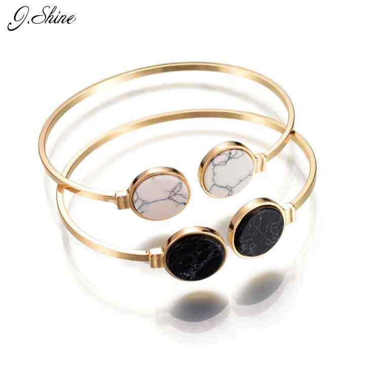 c2abf62bd8a Online Shopping Indian Jewelry Round Black White Stone Open Cuff Bracelets  Bangles Gold Color Adjustable Bracelet