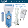 Kemei Rechargerable Pedicure New Model For Foot Smooth Blue Electric Pedicure Tools Foot Care Tool 1pcs roller+adaptor