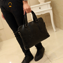 ETONWEAG New 2017 men brands cow leather handbag black luxury document bags fashion laptop bag zipper business style briefcases