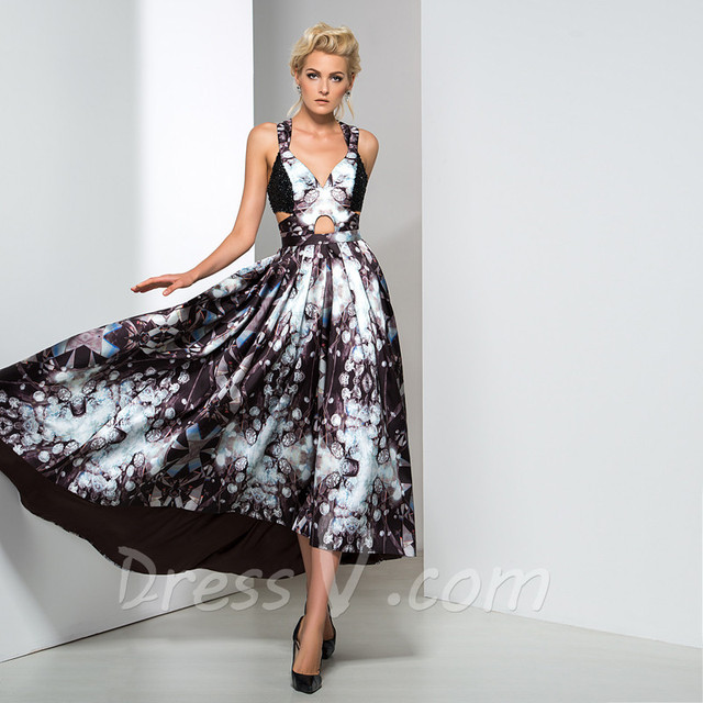 Long galaxy print prom dresses