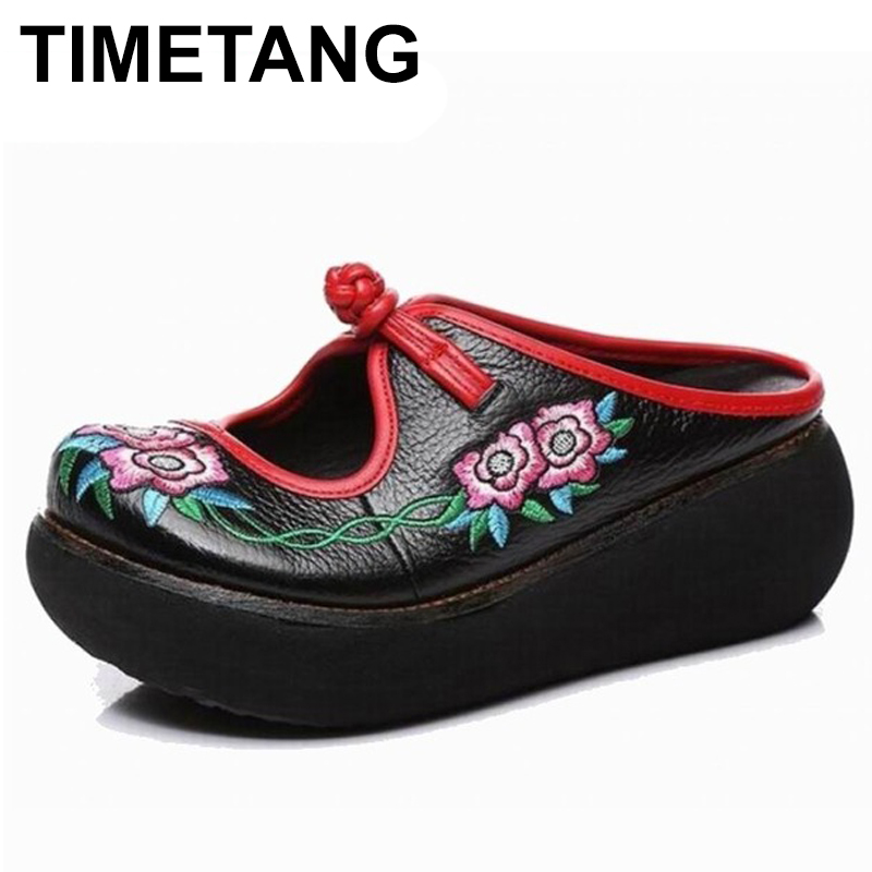 TIMETANG Embroidery Slippers Summer Genuine Leather Shoes Handmade Slides Platform Clogs For Women Wedges Slippers