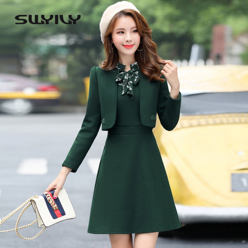 SWYIVY Women's Dress Suit Wool Jacket Coat Winter 2019 Autumn Winter Slim Dress Coat Two Pieces Set Casual Female OL Outwear XXL