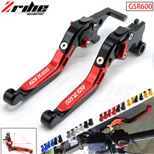 LOGO GSR600 For SUZUKI GSR 600 2006-2011 2010 2009 Motorycle Folding Extendable Brake Clutch Levers Telescopic folding