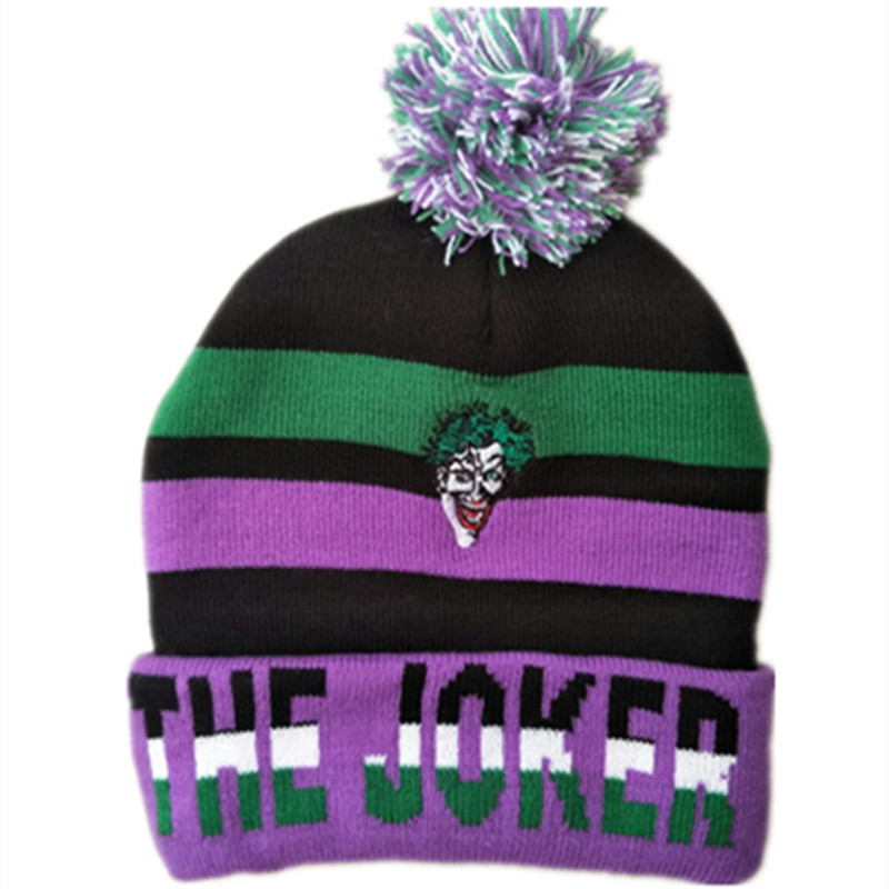 New Cartoon anime Cotton knitting Super Hero Joker Cap Cosplay Clown king autumn winter Soft Warm hat fit for Adult Kid with Pom