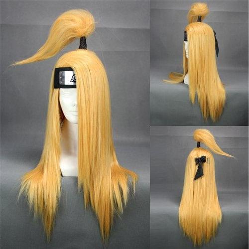 "Anime Naruto Akatsuki Deidara 26"" Headwear Straight Blonde -wig Headwear Cosplay Costume Accessory"