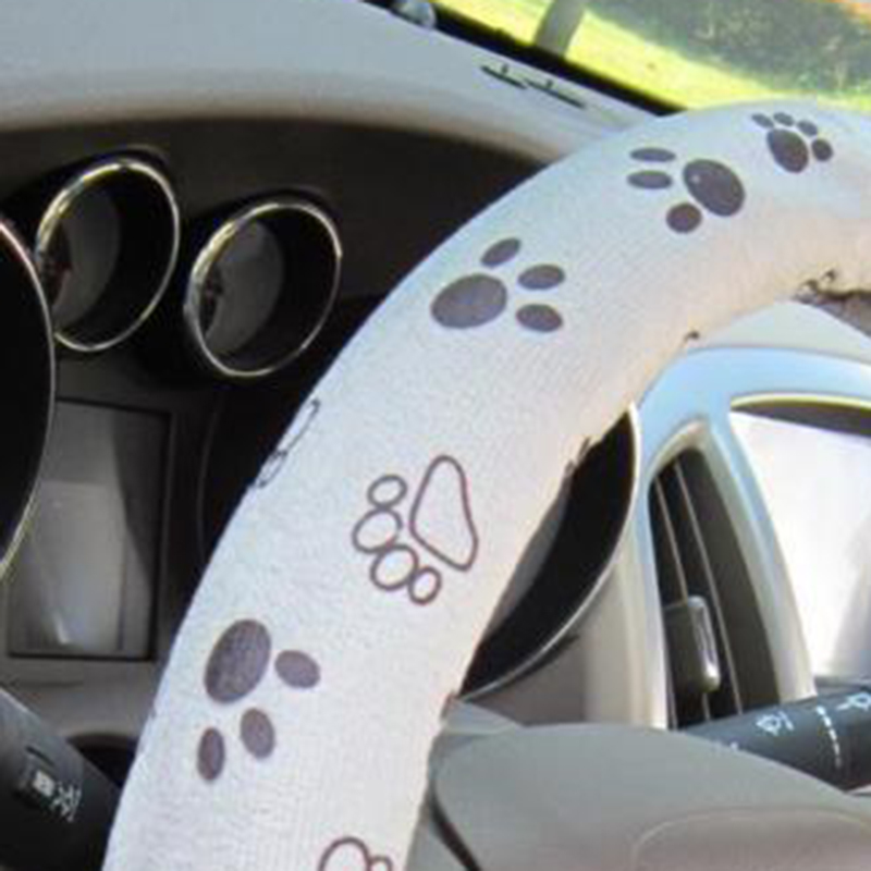 38cm 15 Gray Automotive Car Steering Wheel Cover Cute Paw Printed Decorations