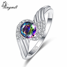 Lingmei New Comes Fashion Luxury Round Cut Rainbow & White Black Cubic Zircon Silver Ring Size 6 7 8 9 Women Jewelry Gifts