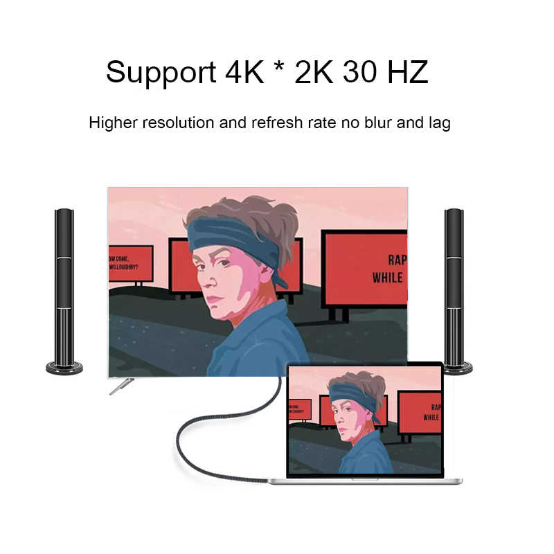 USB C إلى HDMI 4K مهائي كابلات نوع c محول الفيديو USB 3.1 إلى HDMI 1.8M دعم Thunderbolt لهواوي ماتي 20 ماك بوك برو