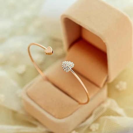 2018 חדש אופנה לב קריסטל Bilezik שרוול פתיחת זהב צמיד אהבת ריינסטון צמידי צמידים לנשים Pulseras Mujer
