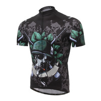 Cycling Jersey Men Summer Short Sleeve Tight Pro Team Black Skull Bike Shirt Bicicleta Breathable Bicycle