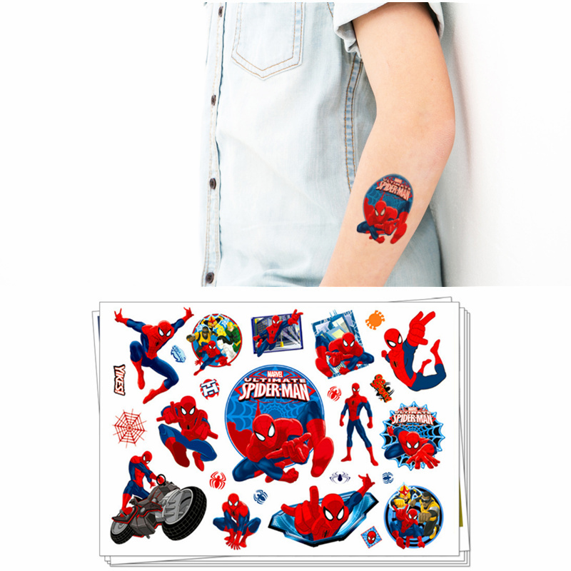 Children Cartoon Temporary Tattoo Sticker Novelty Gag Toys For Avengers Spiderman Ironman Transformer Fans Waterproof 2-3 Days