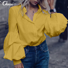 Oversized Women Solid Buttons Blouse Long Puff Sleeve Tunic Top Celmia 2019 Autumn Casual Elegant OL Work Shirt Plus Size Blusas