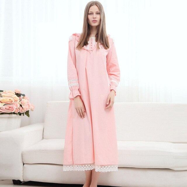 ee6f7deb3da0b Manches longues mi-mollet longue chemise de nuit femmes coton chemise de nuit  longue rose