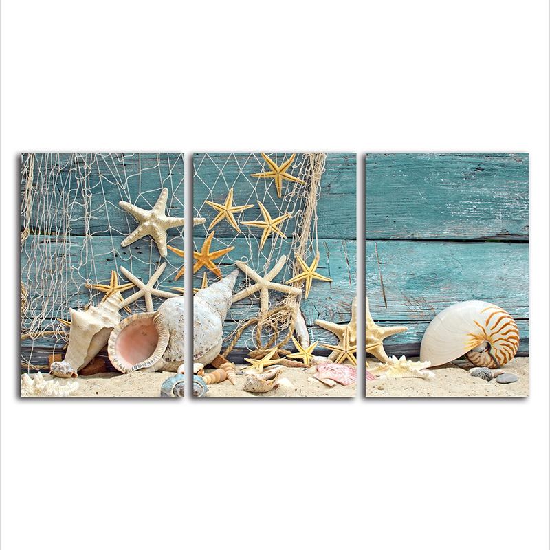 a95048f1497 3 Panels Canvas Prints Wall Art Poster - Modern Starfish Seashell Canvas  Painting Artwork for Living