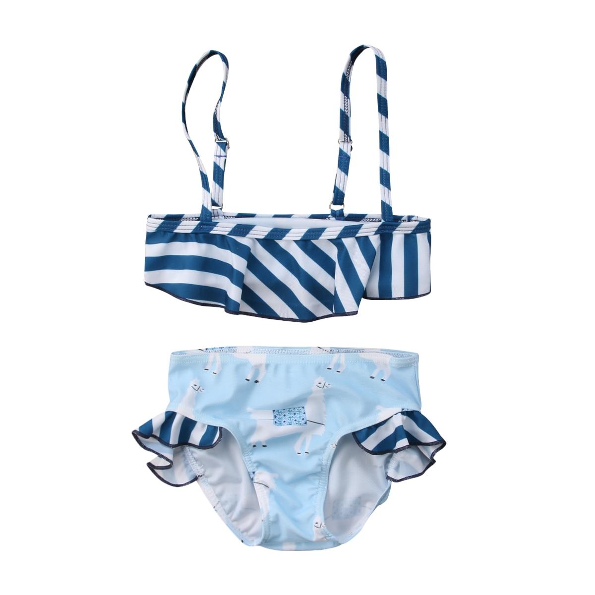 One-Piece 2PCS Swimsuit  Cute Kids Baby Girls Stripe Bikini Swimwear Swimsuit Bathing Suit Beachwear 0-5Y